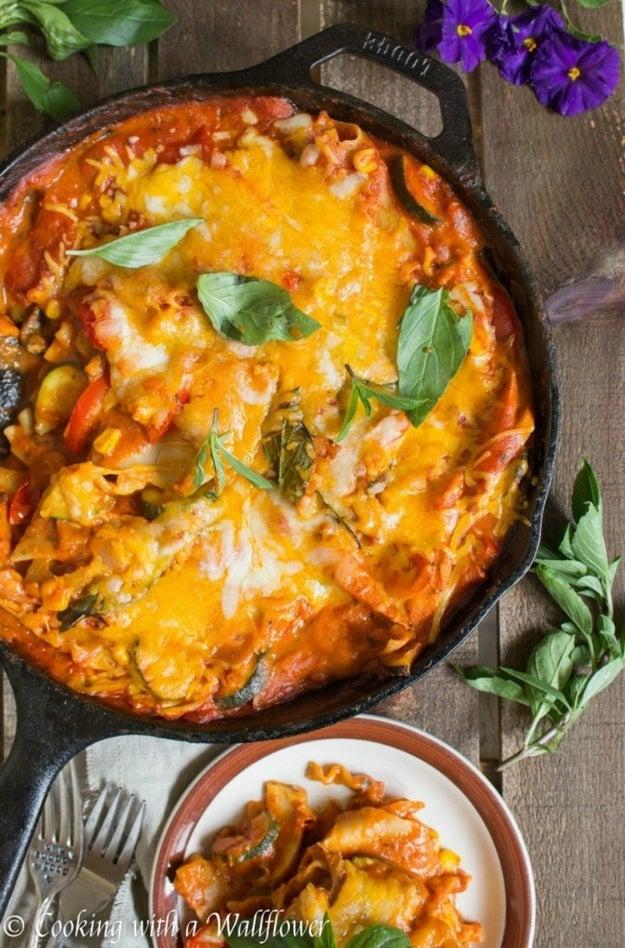 Spicy Chipotle Vegetable Skillet Lasagna