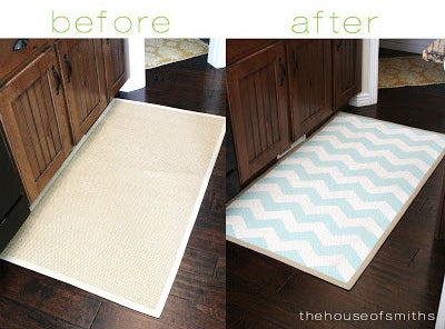 Paint inexpensive area rugs to liven up any room.