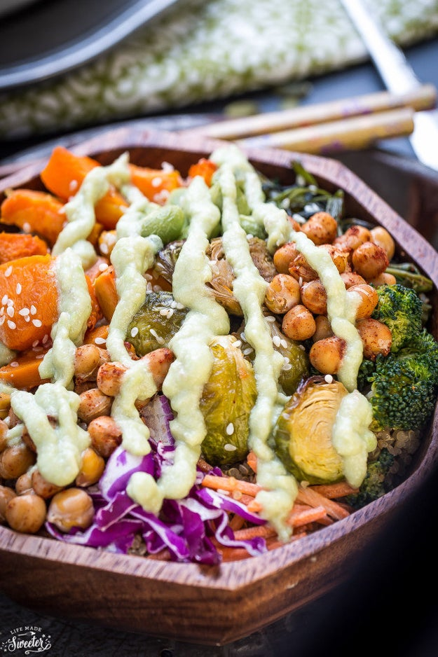 Butternut Squash, Brussels Sprouts, and Chickpea Bowl