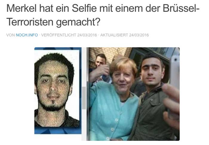 A fake news story alleging that the chancellor took a selfie with one of the Brussels terrorists published by the German website noch.info.
