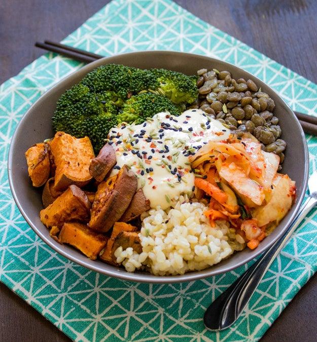 Sweet Potato, Lentil, and Kimchi Bowl