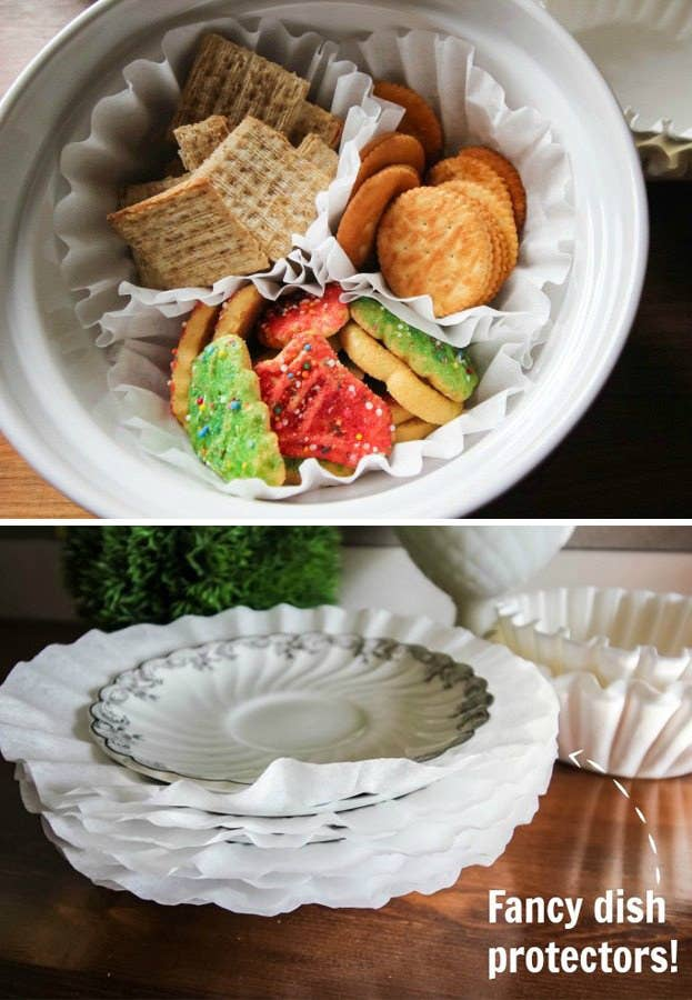 Obviously, make sure that they're clean first. Then use them to separate snacks, serve small amounts of dry snacks (like, to preschoolers), or as plate dividers. Get an excessively complete list here.