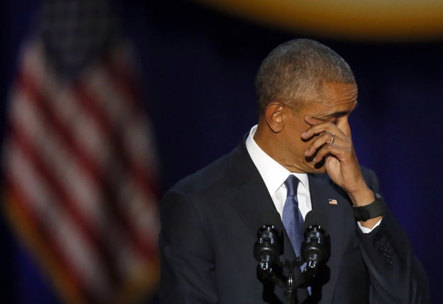 In an emotional moment during Tuesday night's farewell address, President Obama shed tears while speaking about his family.