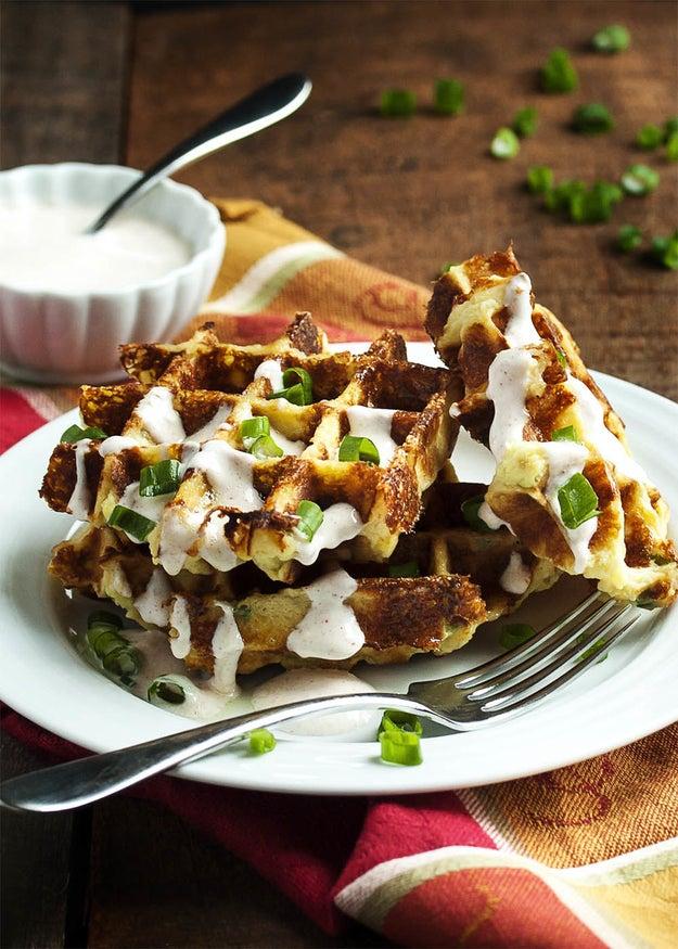 Loaded Mashed Potato Waffles