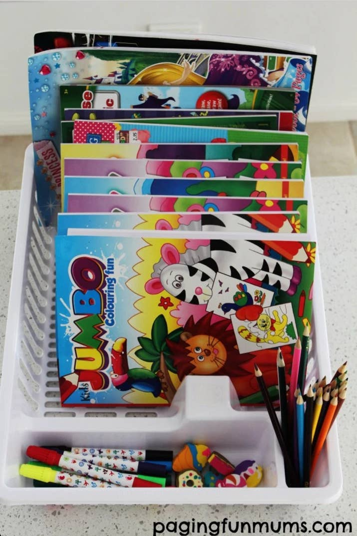 Stack All Of Your Childs Or Own Coloring Books Into A Dish Rack So Theyre Easy To See And Sort Through