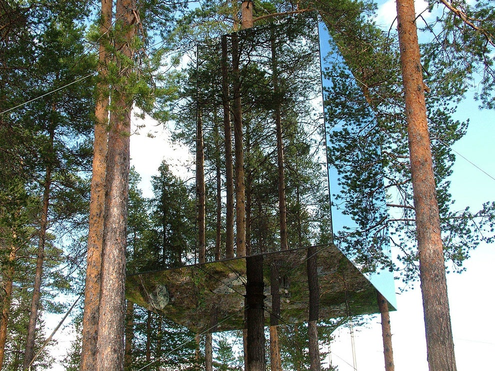 The Mirrorcube room at Treehotel in Harads, Sweden
