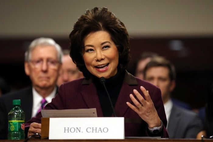 Elaine Chao testifies before a Senate Commerce Science and Transportation Committee confirmation hearing on her nomination to be transportation secretary.