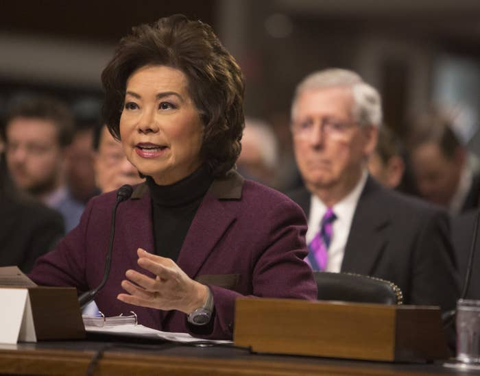 Elaine Chao appears before the Senate The Senate Commerce, Science and Transportation Committee on Capitol Hill.