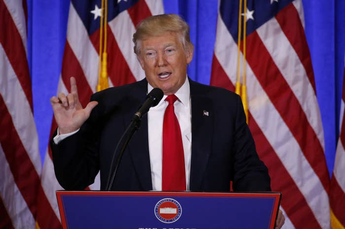 President-elect Donald Trump speaks during a news conference in the lobby of Trump Tower in Manhattan.