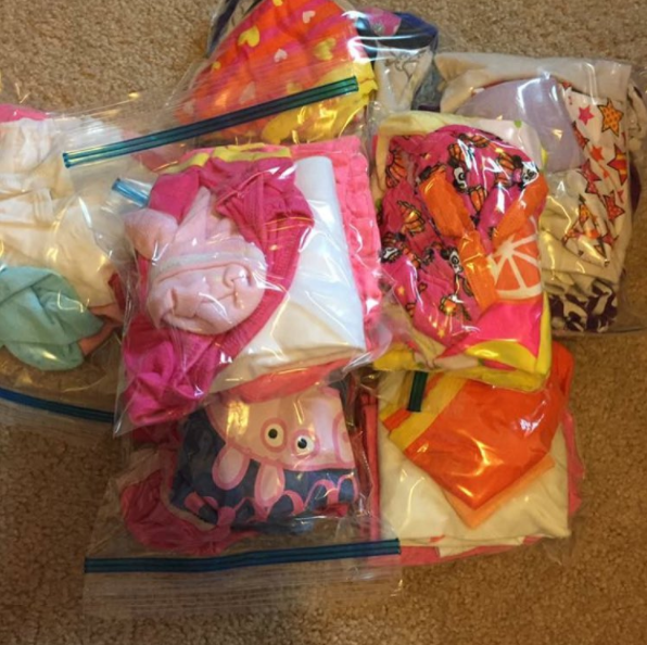 Put your kid's outfits for each day in plastic bags when you go on vacation so you don't have to dig through the suitcase.