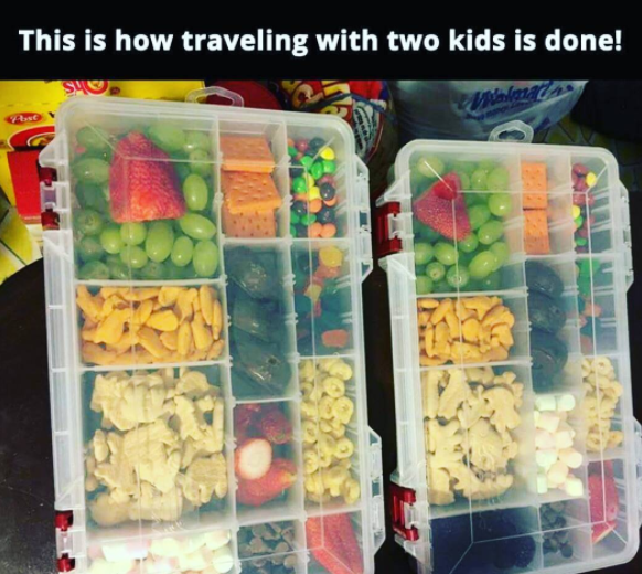 Use a tackle box to keep your kid's snacks organized on a road trip.