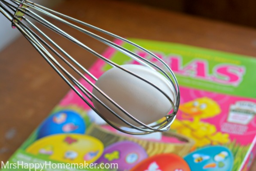 Stick eggs in a whisk before you color them so your kid's fingers won't get stained.