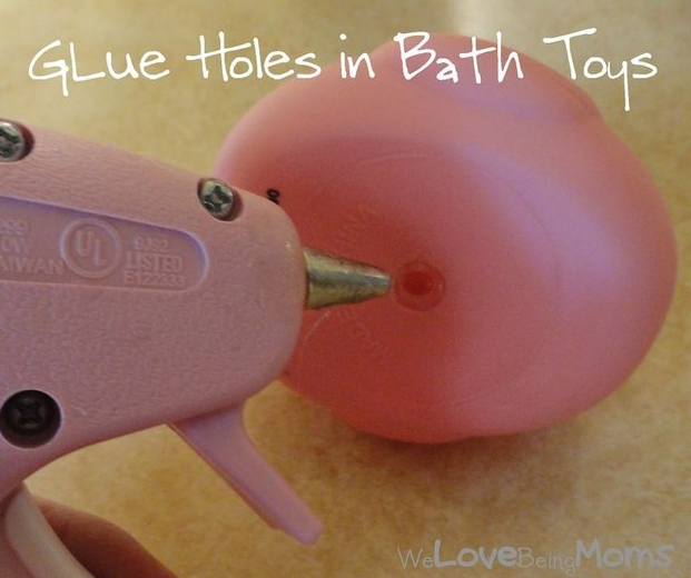 Hot glue the holes in the bottom of bath toys so mold doesn't form.