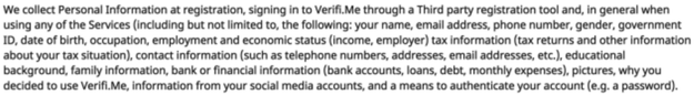 Here's everything that Verifi.Me collects about a user when they use the service, according to the company's privacy policy.