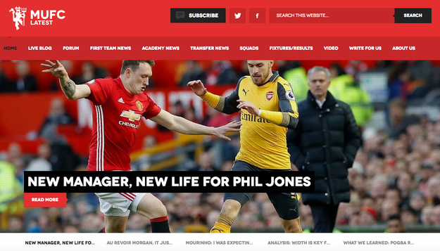 """MUFC Latest describes itself as """"one of the best supporter-run Manchester United websites"""", covering important day-to-day football news, including transfer rumours, and running opinion pieces."""