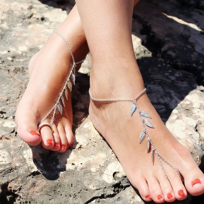 Boho Silver Leaf Chain Anklet Tassel