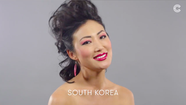 And South Korea kept it bright and bold, with a high-gloss lip and neatly teased hair.