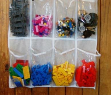 Store Legos bricks in hanging shoe organizers.