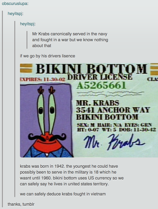 This realization about Mr. Krabs' patriotism: