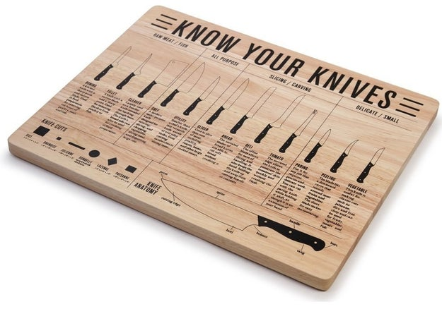 A cutting board with an infographic that makes sure you're using the proper knife for the task at hand.