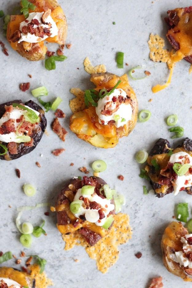 Healthier Loaded Crispy Smashed Potato Bites