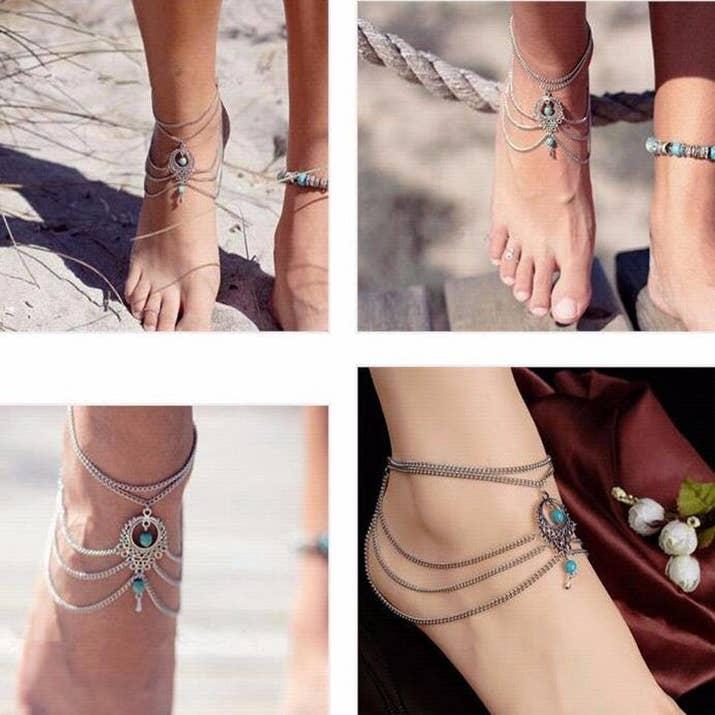 Boho Ethnic Turquoise Beads Anklet