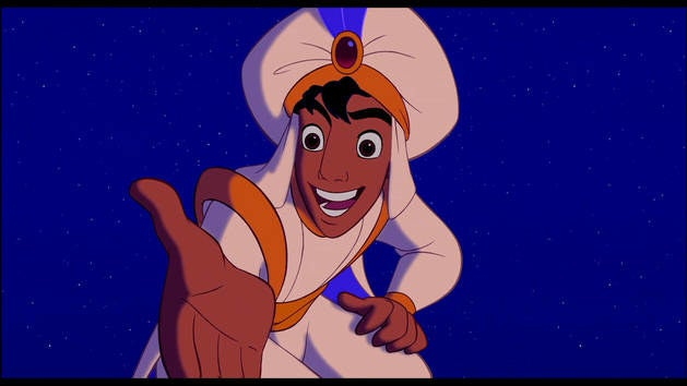 """Do you trust me?"" Trust you?! I'd be willing to drown my favorite teddy bear in the bathtub just so I could ride with you on your magic carpet. OF COURSE I TRUST YOU. NOW TAKE ME WITH YOU. GET ME OUT OF AGRABAH."