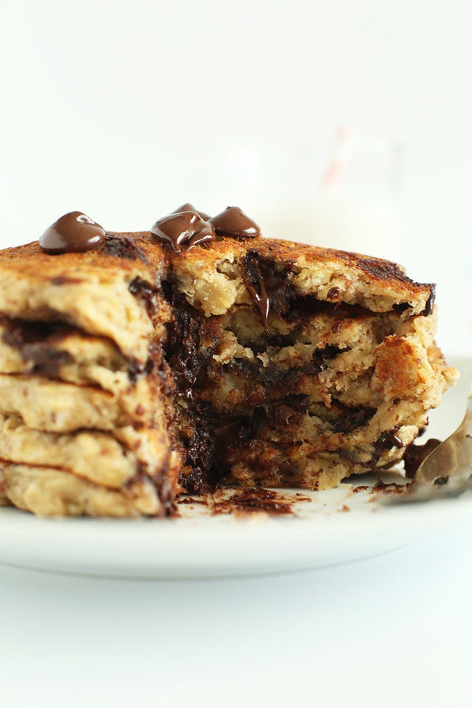 Oatmeal + mashed bananas + chocolate chips = amazing pancakes. Get the recipe here.