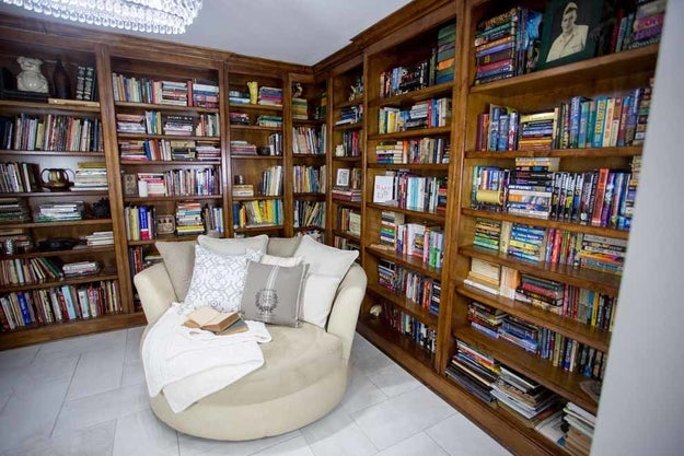 The house boasts five bedrooms and built-in bookshelves.
