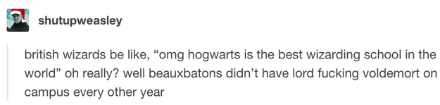 This reason not to go to Hogwarts:
