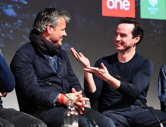 And yes, that included Andrew Scott (Moriarty). Steven Moffat (Sherlock co-creator and writer), Mark Gatiss (co-creator, writer, and Mycroft), and Sue Vertue (producer) were there at the Q&A, along with Benjamin Caron (director), Rupert Graves (Lestrade) and Siân Brooke (Eurus). Here is what was discussed: