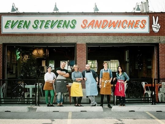 "Even Stevens Sandwiches is a craft-casual restaurant serving sandwiches, salads, bites, and a localized experience unique to every shop. By offering fresh perspectives on nostalgic recipes, the ""anti-cookie cutter"" brand honors tradition while leaving an open door for creativity. Conceived by Utah-based social entrepreneur Steve Down, Even Stevens is more than a progressive restaurant brand: it's a sandwich shop with a cause. For every sandwich sold, they donate a sandwich to a local non-profit partner. Allowing non–profit partners to save cash on feeding community members in need and instead direct their resources towards life–changing programs.​http://evenstevens.com/story/"