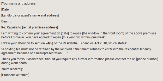 You can find sample letters online if you need to raise an issue with your landlord, but don't know how to go about it.