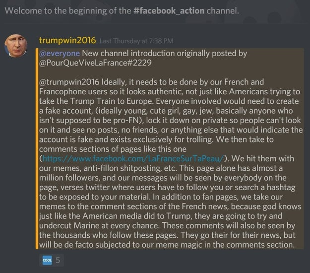 Facebook Screenshot via BuzzFeed. The head of this particular Discord group is a user that goes by @trumpwin2016.