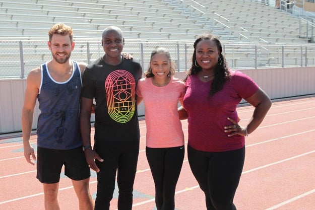 Olympic champions Michelle Carter, Allyson Felix, and Carl Lewis take time out of their busy training schedule to watch three adult women literally race to grab an engagement ring.