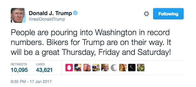 """Donald Trump on Tuesday tweeted that Bikers for Trump — a group of bikers who supported him during his campaign — were """"on their way"""" to the Jan. 20 inauguration in Washington DC."""