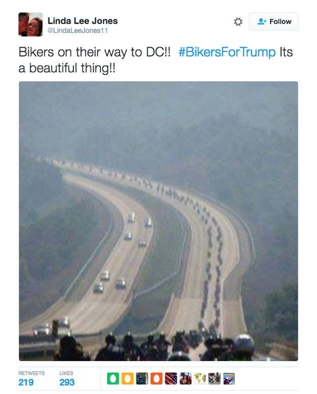 However, several pro-Trump accounts on social media are using pictures and videos that falsely claim to show large groups of bikers on their way to the inauguration in Washington.