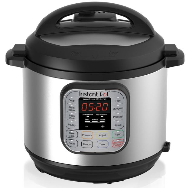 A seven-in-one Instant Pot cooker that (deep breath) pressure cooks, slow cooks, makes rice, sautés, makes yogurt, steams food.... and also keeps your dinner warm.