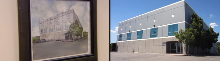 In the final moments we hear Pam speaking, and are shown a shot of her painting, then the actual Dunder Mifflin building.
