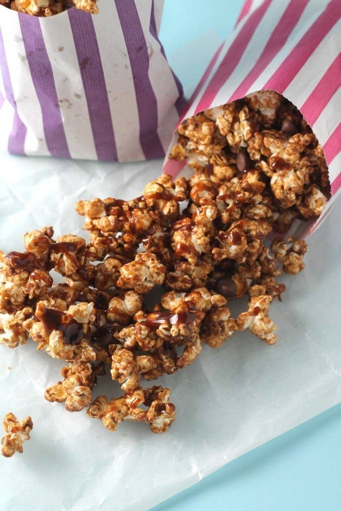 Just as a pinch of salt makes a hot chocolate extra addictive, a dash of salt over gooey chocolate and caramel will make this popcorn hard to put down. Recipe here.