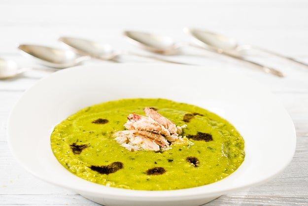Pea Soup with Crabmeat and a Balsamic Drizzle