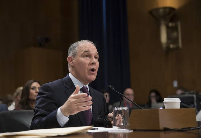 Scott Pruitt testifies at his confirmation hearing before the Senate Environment and Public Works Committee on Wednesday.