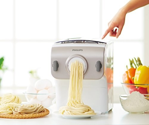 And a pasta machine that makes fresh, homemade spaghetti, penne, fettuccini at the touch of a button.