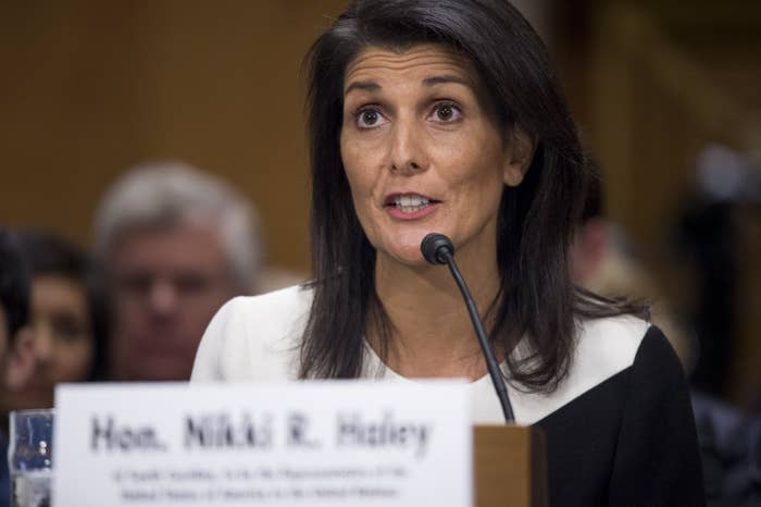 South Carolina Gov. Nikki Haley testifies during her confirmation hearing for US ambassador to the United Nations before the Senate Foreign Relations Committee on Jan. 18.