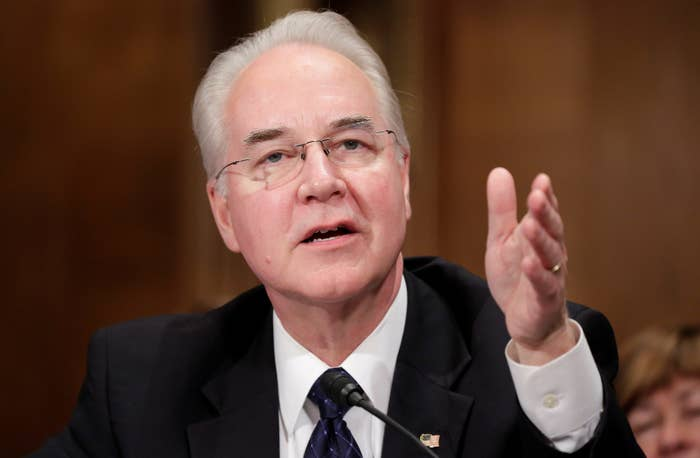 Rep. Tom Price testifies before the Senate Health, Education, Labor and Pensions Committee on January 18, 2017.
