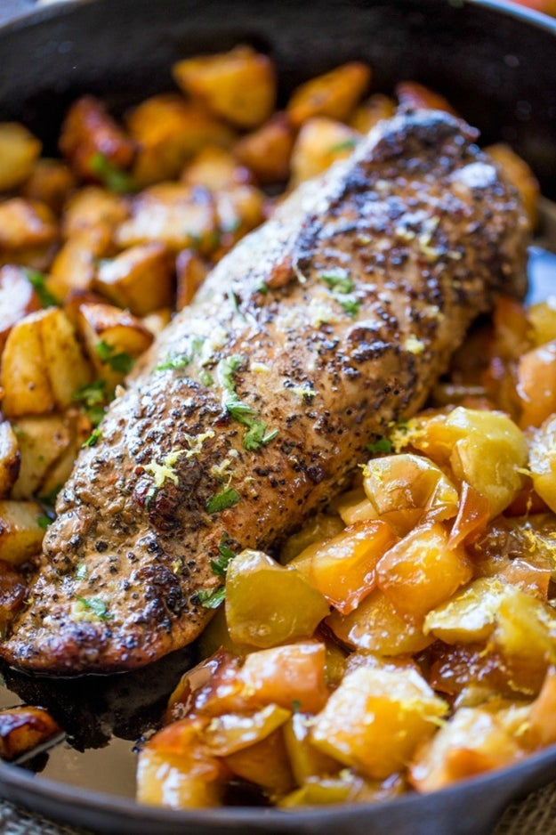 One Pan Honey Apple Pork with Potatoes