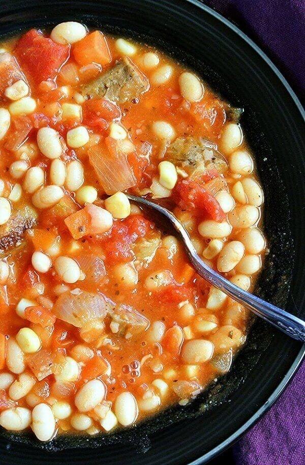 """Vegan White Bean """"Sausage"""" Stew"""