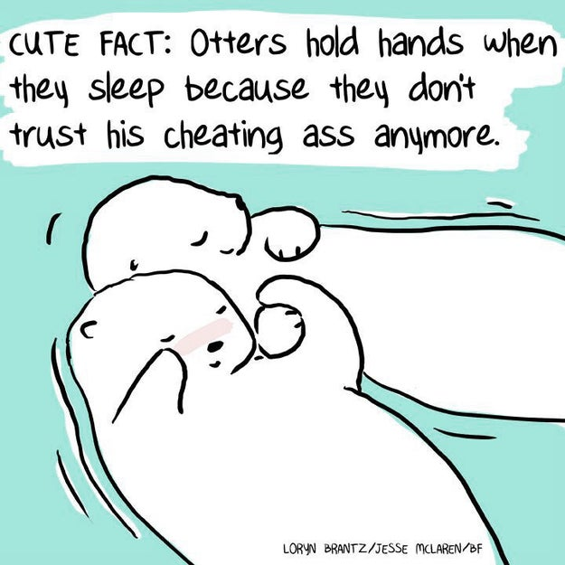 Many humans enjoy holding hands to show how much they love each other. Otters also do this to not float away from each other in their sleep.