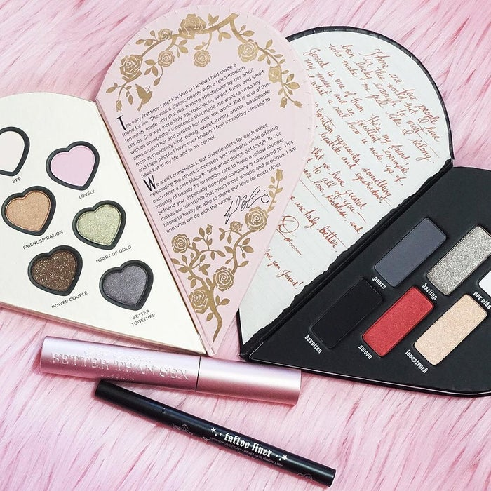 Each heart half (inspired by interlocking friendship necklaces) contains six brand-new eyeshadow shades, as well as a best-selling item from each brand (Kat Von D's Tattoo Liner and Too Faced's Better Than Sex Mascara). Get it from Sephora for $65.You can also buy their mini cheek and lip set for $38 or the mini liner and mascara duo for $20.
