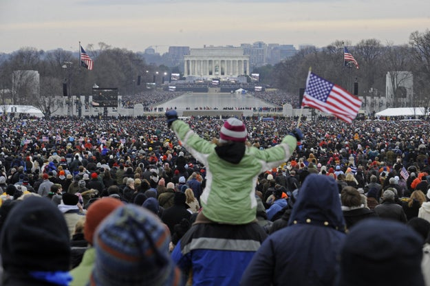 Here's the crowd at the Lincoln Memorial for a concert ahead of President Obama's inauguration in 2009.